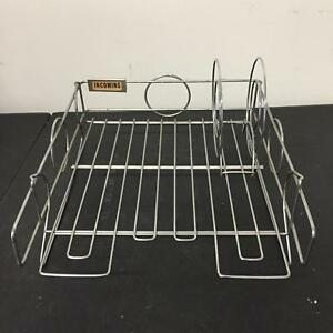 Vintage Silver Chrome Incoming Mail Metal Tray