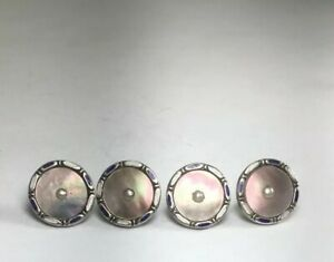 Antique Victorian 1910 Sterling Silver Enamel Pearl Buttons Set Of 4 M126