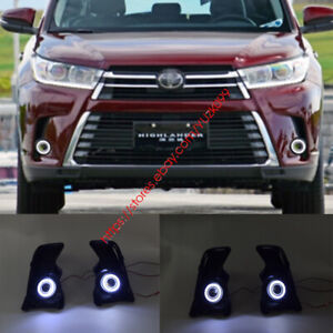 2x Led Daytime Running Fog Lights Lamp Drl angel Eyes For Toyota Highlander 2017