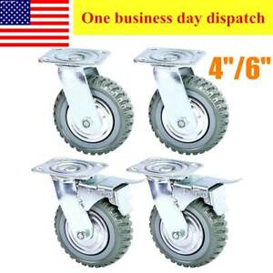 4pcs Heavy Duty Industrial Rubber Caster Wheels 4 6 360 Swivel ball Bearing
