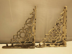 Pair Antique Vintage Cast Iron Ornate Shelf Brackets 4 3 4 X 6 2