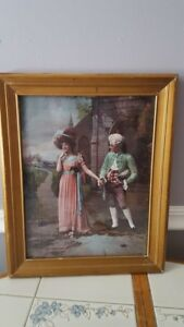 Victorian Framed Lithograph Print Victorian Couple Holding Hands Outside Church