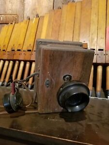 Early Oak Western Electric Telephone Phone Transmitter Receiver Box Wall Hanging