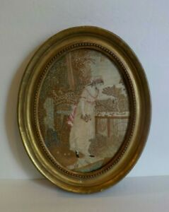 Framed Silk Embroidery Needlework Portrait Young Woman C 1800