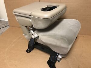 99 10 Ford F250 F350 Super Duty Center Console Tan Cloth Jump Seat Flip Up