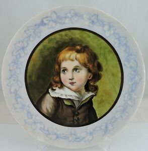 Antique Limoges Girl Portrait Cabinet Decorative Charger Plate Hand Painted