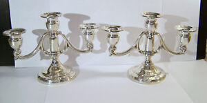 Mueck Carey Sterling Three Light Candle Holder Pair Weighted Candelabra 358