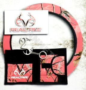 Realtree Multipack Steering Wheel Cover Decal Keychain Visor Organizer Pink Camo