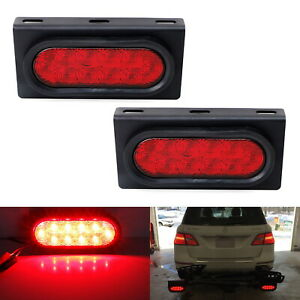 Red 6 1 2 Oval Surface Mount Led Brake Tail Lamps W 3mm Thick Flush Brackets