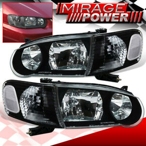 For 2001 2002 Toyota Corolla Black Headlights Clear Corner Signal Side Lamps