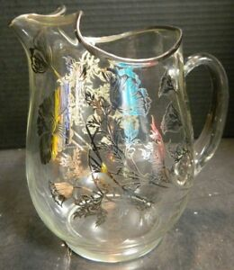 Vintage Beautiful Sterling Silver Overlay Glass Pitcher W Ice Lip Excellent Con