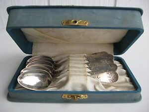 Antique Teaspoons Tea Spoons Etched Cabbage Rose Leaf Garland Frank M Whiting W