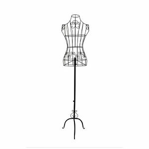 Benzara Wire Frame Metal Mannequin Display Stand With Adjustable Height Black