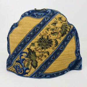 Antique Victorian Bead Beaded Needlework Padded Grape Leaves Blue Gold Tea Cozy