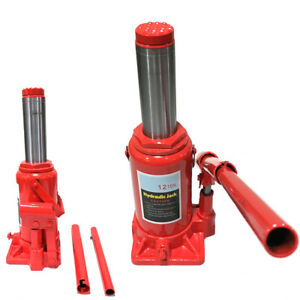 12 Ton High Lift Hydraulic Double Ram Bottle Jack Heavy Duty Machinery Lifter