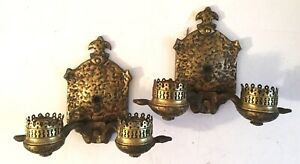 Antique Pair Arts Crafts Hammered Brass Double Light Wall Sconces Lamps