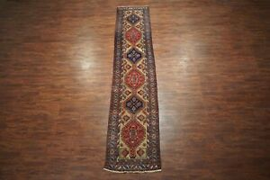 Antique 3x14 Persian Karajeh Sarab Runner 1930s Hand Knotted Wool Rug 3 X 14 3