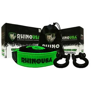 Rhino Usa Combo Recovery Tow Strap 30ft D Ring Shackles
