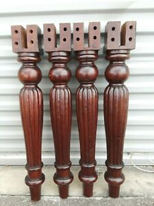 Set Of 4 Vintage Mahogany Wood Furniture Table Legs 29 1 2