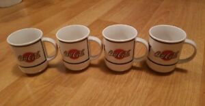 Coca Cola Coffee Mug Cups Set of 4 Collectible White