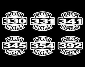 2 Early V8 Hemi Engine Decals 330 331 341 345 354 392 Vintage Motor Stickers