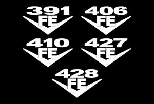 2 Fe Block V8 Engine Decals 391 406 410 427 428 Truck Edsel Motor Galaxie Gt 7 0