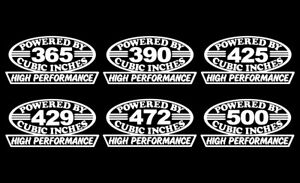 2 Caddy Hp V8 Engine Decals 365 390 425 429 472 500 Cubic Inches Sticker Emblems