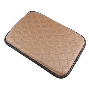 Beige Car Armrest Pad Cover Center Console Pu Leather Cushion Mat Universal