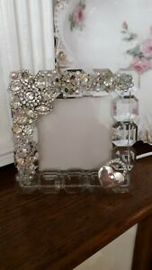 Vintage Jewelry Glass Picture Frame Shabby Chic