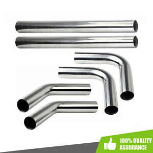 6pcs 2 5 T304 Stainless Steel Straight 45 90 Degree Bend Exhaust Tube Pipes