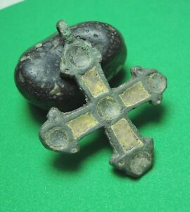 Ancient Bronze Cross Wearable Pendant Antique 9 11th Century C83