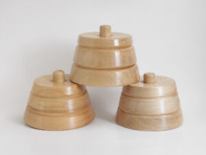 Vintage Set 3 Hatters Wood Hat Block Stands Spinners Used As A Blocking Base