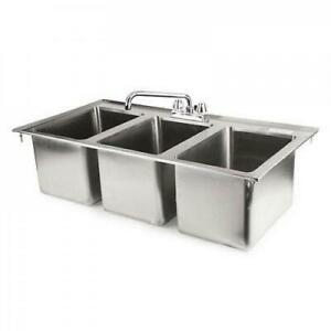 37 3 compartment Stainless Steel Kitchen Drop in Sink With Faucet