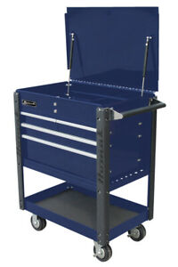 Homak Professional Service Cart Bright Blue
