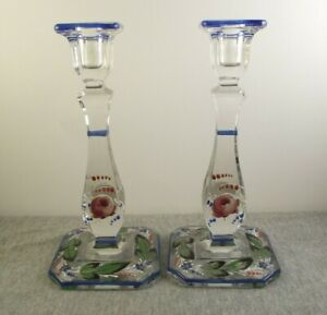 Pair Of Enameled Glass 8 25 Candlesticks Roses Leaves Blue Edge