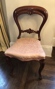 Antique Carved Wooden Balloon Back Dining Room Side Chair