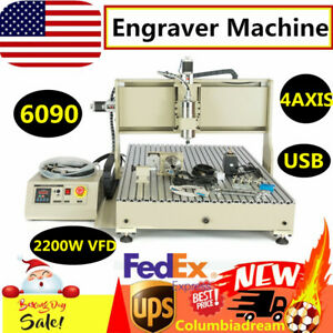 4axis Usb Cnc 6090 Router Engraver Machine Milling Dilling 2200w Vfd Ball Screw