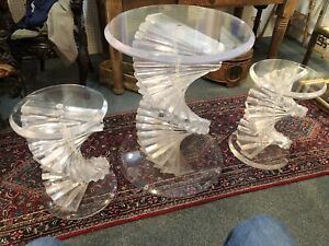 Vntg Mid Century Modern Helix Spiral Stacked Acrylic Lucite Table W 2 Stools Set