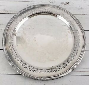 Vintage Wm Rogers Silver Plated 12 1 4 Round Pierced Serving Tray Platter 170