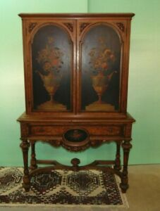 Antique Walnut Blind Door Cabinet By Berkey And Gay Painted Panel Inserts