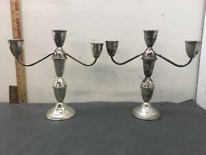 Pair Duchin Sterling Silver 3 Light Candleabra Candlestick Holders 9 75