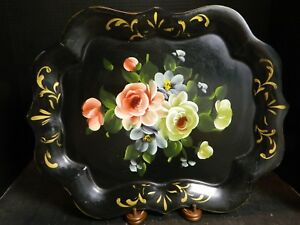 Vintage Hand Painted Flowers Black Toleware Tray 18 75 X 15 Very Good Cond