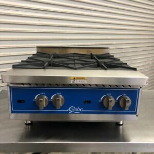 4 Burner Cook Top Stove Open Flame Countertop Hot Plate Globe 1009 Commercial