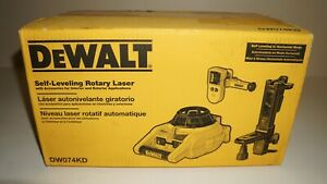 Brand New Dewalt Self Leveling Rotary Laser Kit Dw074kd With Laser Detector