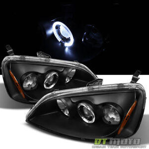 For Black 2001 2003 Honda Civic 2 4dr Dual Halo Projector Headlights Left right
