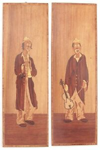 Vintage Pair Wood Inlaid Marquetry Picture Circus Clown Musical Instruments Art