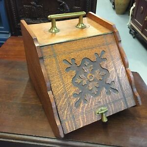 Antique Early 1900s Wood Brass Coal Scuttle Ornate Box Holder