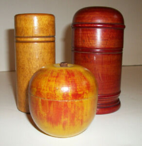 Antique Treen Lot Of 3 Spice Type Container Apple Primitive Treenware Wood