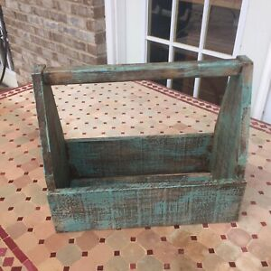 Large Primitive Distressed Wooden Tool Box Planter Farm House Home Decor Green