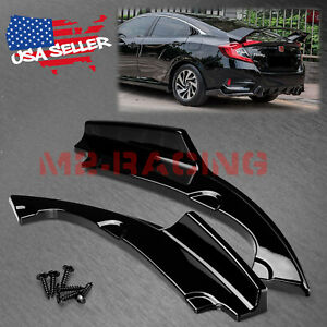 2pcs Gloss Black Rear Bumper Lip Diffuser Splitter For 2016 2018 Honda Civic